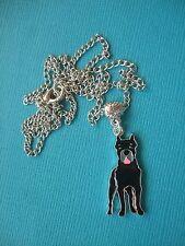 Great Dane Dog Necklace & Pendant Metal Chain Silver Tone Black Enamel Puppy