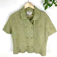 Flax Top Medium 100% Linen Green Short Sleeve Double Button Front Collar