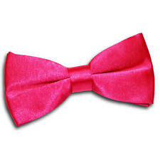 DQT Satin Plain Solid Hot Pink Formal Classic Mens Pre-tied Bow Tie