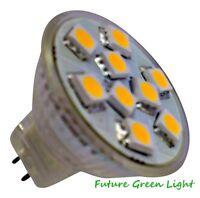 MR11 9 SMD LED 1.8W 12V (10-30V DC / 10-18V AC) 160LM WHITE BULB ~20W