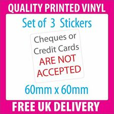 3x Cheques or Credit Cards are NOT accepted sticker TAXI SHOP TRADER vinyl label