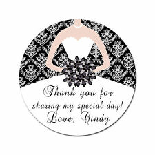 40 Stickers Bridal Shower Thank You Label Favor Black and White Personalized A1