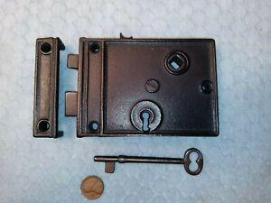 Interior Rim Lock Only Reversible Restored w/ key 3-1/8 Backset