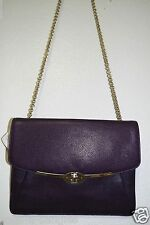 Coach 66215 Madison Leather iPad Crossbody Light Gold Black Violet NWT