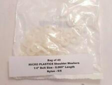 "Bag of 40 MICRO PLASTICS Shoulder Washers 1/4"" Bolt Size 0.060"" Length Nylon 6/6"