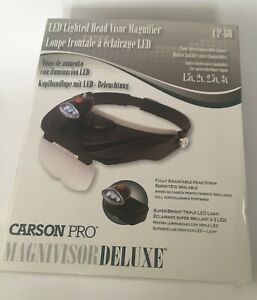 Carson Pro Magnivisor Deluxe LED Lighted Head Visor Magnifier CP-60 E1