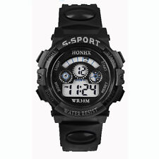 Mens Boys Waterproof Watches Digital LED Date Sports Quartz Black Wrist Watches