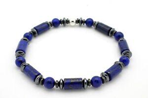 Mens Ladies Bead Bracelet Lapis Lazuli with Hematite Sterling Silver Handmade