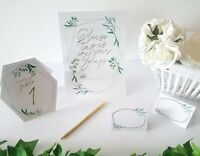 Green, White & Gold Foil Wedding Table Numbers, Name Cards, Instagram Sign