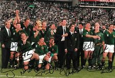 south africa world cup winning team celebrate on the pitch signed 12x8 photo