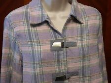 Napa Valley Petites Pastel Plaid Wool Blend Coat Jacket Elbow Patches Small