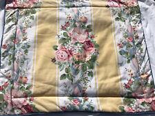 Laura Ashley or Ralph Lauren Yellow Stripe Floral Pillow Sham Cover Euc