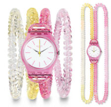 Swatch Sunny Day S Watch LP145B Analogue Plastic Yellow,Pink,Rosa,Transparent