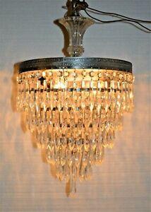 Elegant Vintage 5 Tier Wedding Cake Prism Crystal Chandelier Nice Glass Top Drop