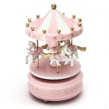 Home Decorative Wind Up Horse Fairground Carousel Musical Box Toy Pink Golden
