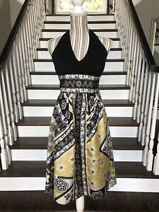 NWT Suzi Chin For Maggie Boutique Yellow Black Halter Dress $139 Size 4