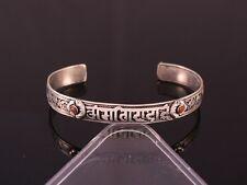 Delicate Tibetan Filigree Red Coral Carved OM Mani Dorje Amulet Cuff Bracelet