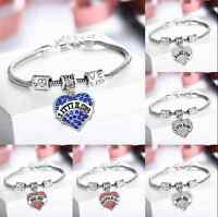 Love Crystal Heart Best Friend Letter Words Pendant Bracelets Chain Family Gift