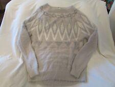 LC Lauren Conrad Fairisle Eyelash Boatneck Sweater Women's Size M Grey