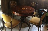 French Floral Inlaid Solid Wood Gaming Game Table Set w/ 4 Chairs VINTAGE