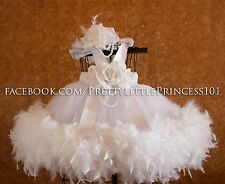 FEATHERS BAPTISM DRESS, CHRISTENING DRESS, PAGEANT DRESS, Size 6-12 months