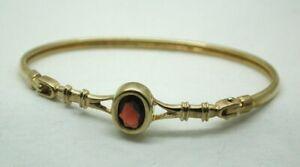 Lovely 9 carat Gold Garnet Set Bangle SMALL Wrist Size