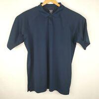 Columbia Mens Size XL Navy Blue Hidden Button Short Sleeve Polo