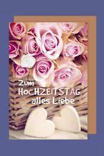 Hochzeitstag Karte Grußkarte extra Accessoires Stoffblüte 16x11cm