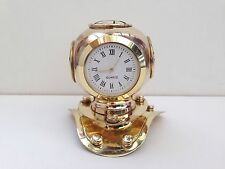 Solid Brass Finish Marine Nautical Divers Helmet Clock - Gift