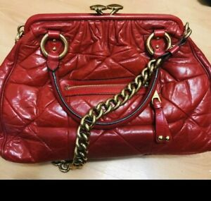 MARC JACOBS Luxury Red Frame Chain Patchwork Stam  Leather Bag Used