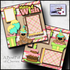 Make A Wish printed 2 premade scrapbooking pages paper layout baby girl CHERRY