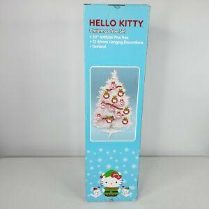 "Hello Kitty Tinsel Christmas Tree Set Kurt Adler 23"" White Pink Extra Ornaments"
