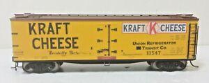 Kraft Cheese Railroad 40' Billboard Wood Reefer URT 10547 Metal Wheels Atlas