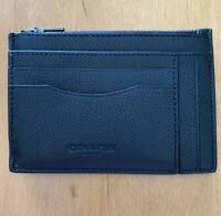 Authentic Coach F66550 Men's Multiway Zip Leather Card Case Wallet Black (MCL)