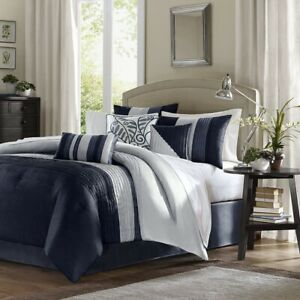 Luxury 7pc Navy Blue & Grey Striped Comforter Set AND Decorative Pillows