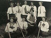 Vintage Women's Baseball Team Old Photo Reprint Postcard Liberty Belles K7