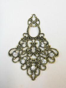 Large Necklace / Choker Pendant - Jewelry Finding /  Filigree Gold- Pot Metal