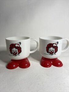 2 Vtg 1985 McDonalds Ronald Footed Plastic Birthday party Mug Clown Coffee Cups