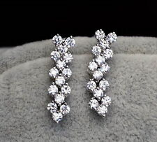 White Gold Filled Made With Swarovski Crystal Silver Bridal Dangle Earring XE24