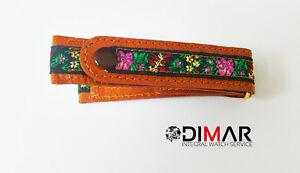 Band / Gurt / Uhrarmband Der Boton Mischgewebe Stoff Und Leder Blumen Motiv 18mm