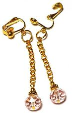 Long Pink Crystal Clip-on Earrings Gold Chain Glass Drop Dangle Prom Statement