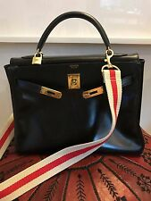 HERMES Kelly 32cm Black Box Bag Purse Vintage, 100% AUTHENTIC