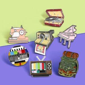 Space Astronaut Vintage Vinyl Gramophone Recorder Piano Enamel Brooch Badge Pins