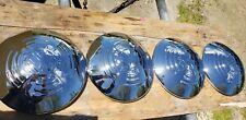 Four Vw volkswagen vintage bug beetle chrome split oval window kdf hub caps set