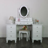 White Wooden Bedroom Set Dressing Table Mirror Stool Bedsides Shabby French Chic