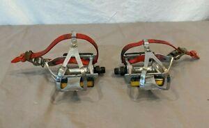 """Vintage MKS AR1 Platform Pedals w/Christophe Cages & Toutan Straps 9/16"""" Spindle"""