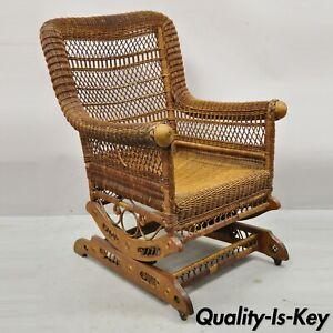 Antique Heywood Wakefield Woven Wicker Victorian Platform Rocker Rocking Chair
