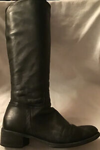Unbranded Ladies Leather Black Knee High Boots In Good Condition Size Eu 39 UK6