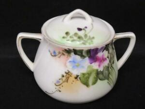 Vtg Nippon Hand Painted Creamer And Lidded Sugar Bowl White Pink Blue Flowers