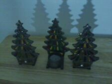 Three Stained Glass and Cast Iron Tree Tealight Candle Holders